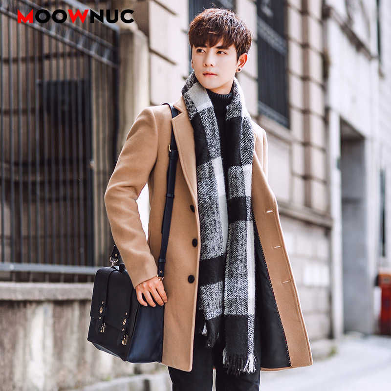 Wool Blend Men's Coat Woollen Overcoat Winter Autumn Men Coat Fashion Brand Clothing Lined Warm Woolen Overcoat Male MOOWNUC 5XL