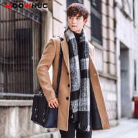Mistura de lã casaco de lã masculino casaco de inverno outono masculino casaco de moda roupas marca forrado quente lã casaco masculino moownuc 5xl