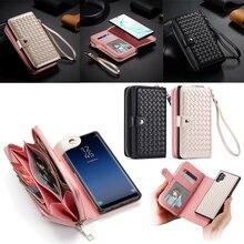 ซิปกระเป๋าสตางค์กรณีสำหรับ Samsung Galaxy หมายเหตุ 10 Plus S10 S9 S8 Plus S10E หมายเหตุ 9 8 หนังป้องกันแม่เหล็กที่ถอดออกได้พลิกกรณี