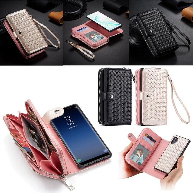 Zipper Wallet Case for Samsung Galaxy Note 10 Plus S10 S9 S8 Plus S10E Note 9 8 Leather Protective Magnetic Detachable Flip Case