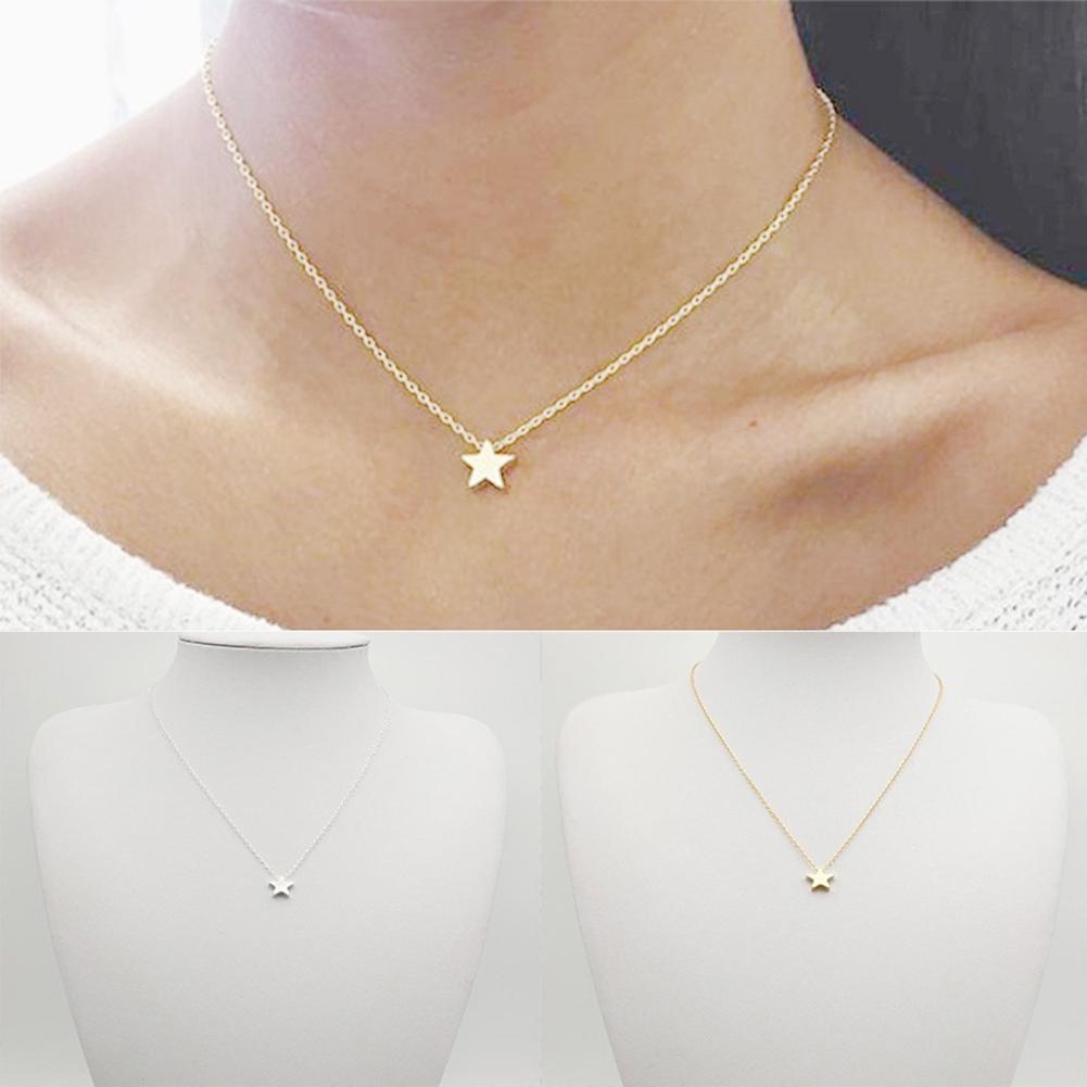 2020 Hot Sale Women Simple Fashion Tiny Five Point Star Pendant Women Choker Short Necklace Chain Jewelry