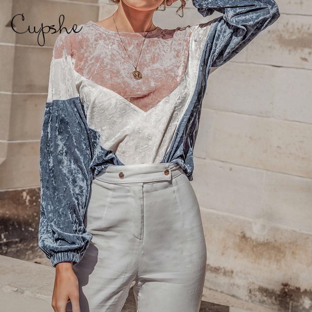 CUPSHE Colorblock Velvet Hoodies Women Casual Loose Long Sleeve Knitted Pullover Tops Spring Autumn Female Sportswear Sweatshirt