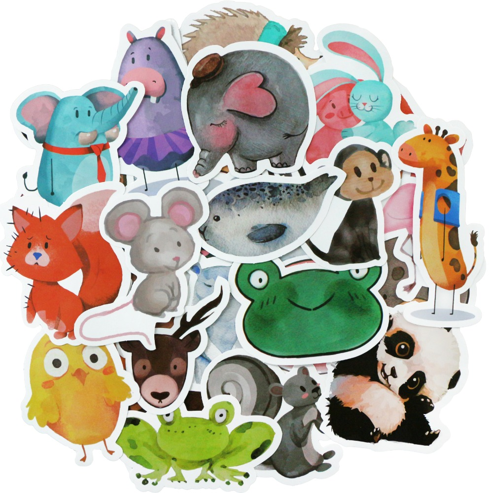 50 PCS+ Mix Styles Cute Watercolor Animal Sticker Neon Light Warnings DIY Funny Stickers for Laptop Car Luggage Bike Toys