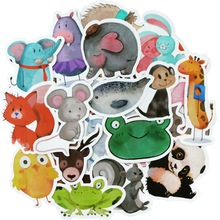 50 PCS Mix Styles Cute Watercolor Animal Sticker Neon Light Warnings DIY Funny Stickers