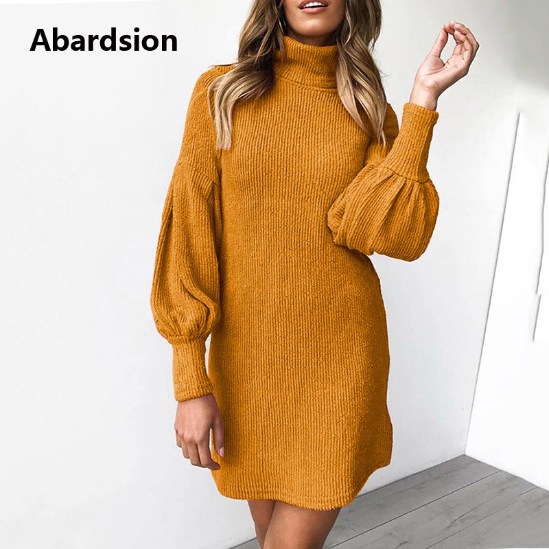 Image 3 - Abardsion Women Sweater Dress Autumn Winter Clothes 2019 Female Casual Loose Pink Puff Long Sleeve Turtleneck Knitted Dresses-in Dresses from Women's Clothing