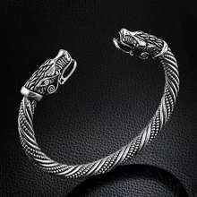 Vintage Dragon Head Mouth Open Cuff Bracelet Nordic Viking Bangle Antique Twisted Pattern Carved Wristband Jewelry