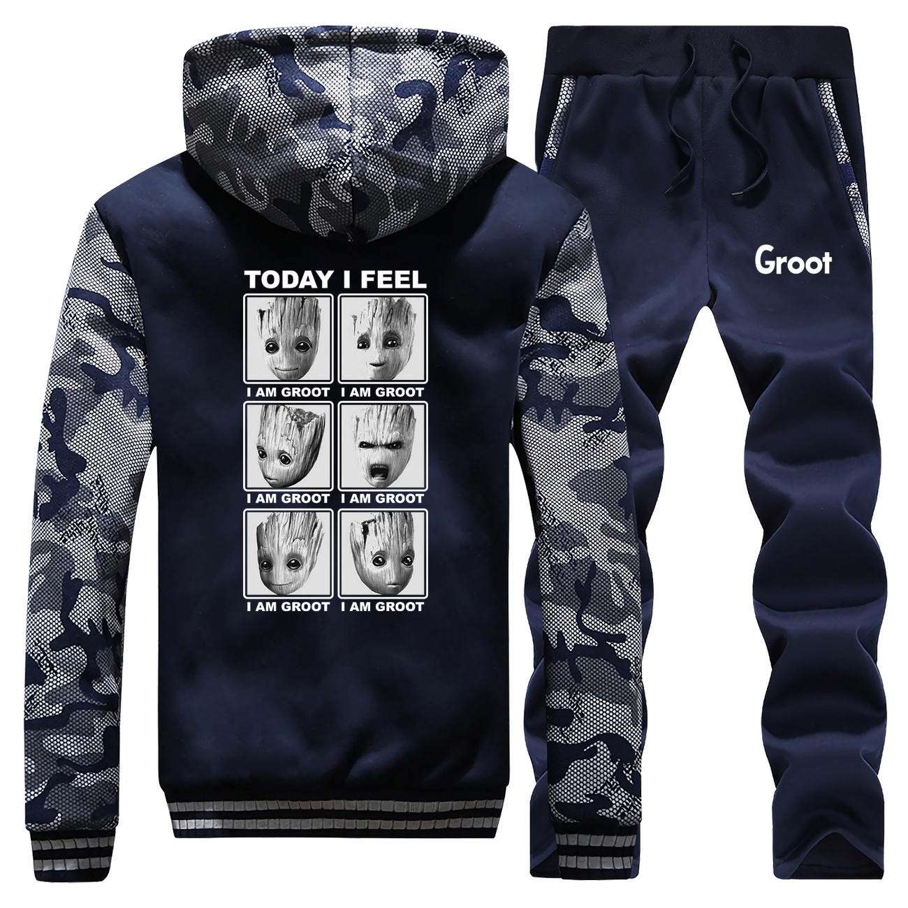 Today I Feel I Am Groot Thick Hoodies Men Hip Hop Hoodie Sweatshirt+Pants 2 Piece Sets Mens Fleece Warm Jacket Winter Tracksuit