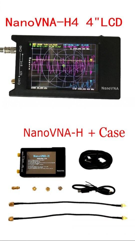 Analyseur de réseau vectoriel Hugen NanoVNA-H4 H 4 pouces/2.8 pouces LCD/VNA analyseur d'antenne HF VHF UHF + boîtier + boîte + batterie