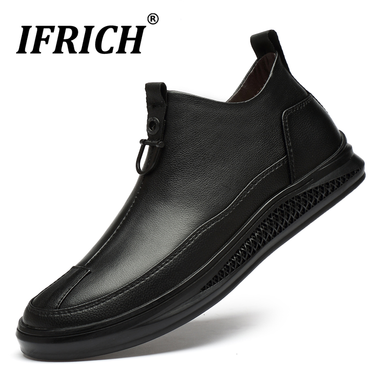 Cheap New Luxury Walking Shoes For Men Genuine Leather Casual Men Shoes Fashion Mens Flats Zip Sneakers Black Winter With Fur Men Shoe