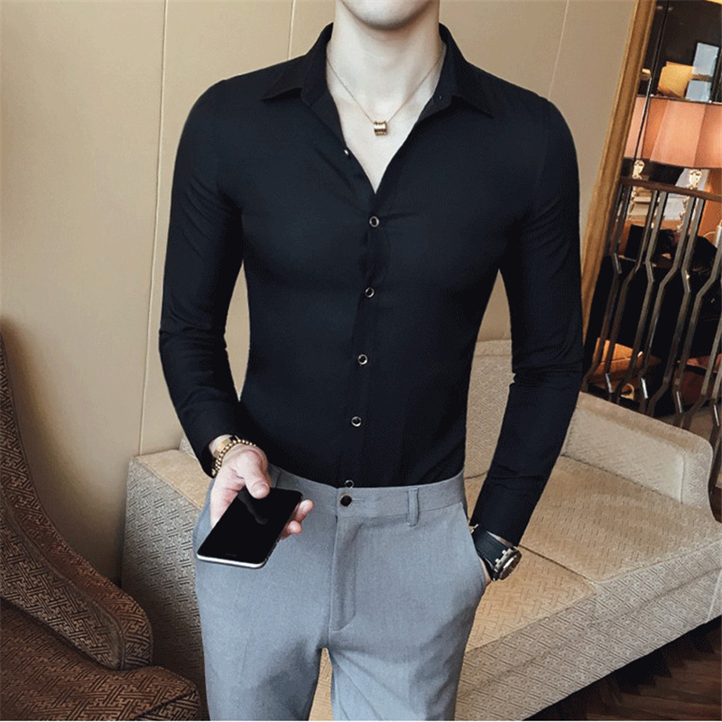 Fashion Brand Men's Solid Color Shirt Long Sleeve Slim Camisa Masculina Men's Clothing Dark Green Red Casual Dinner Party Shirt