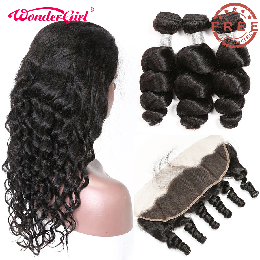 Free Customized Glueless Brazilian Loose Wave Lace Frontal Wig Pre Plucked By Remy Loose Wave Human Hair Bundles With Frontal