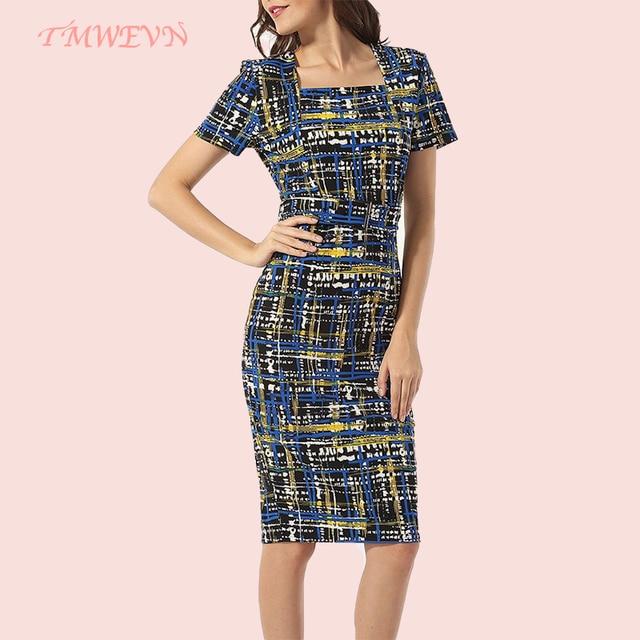 Women Short Sleeve Lady Plaid Print Pencil Dress Party Dresses Elegant Dinner Dress 1