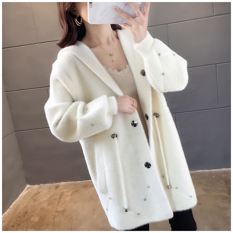 Imitation Mink Cashmere Hooded Coat Women 2020 Winter Knit Coat Women Autumn Loose Casual Sweater Cardigan Coat Female Outerwear