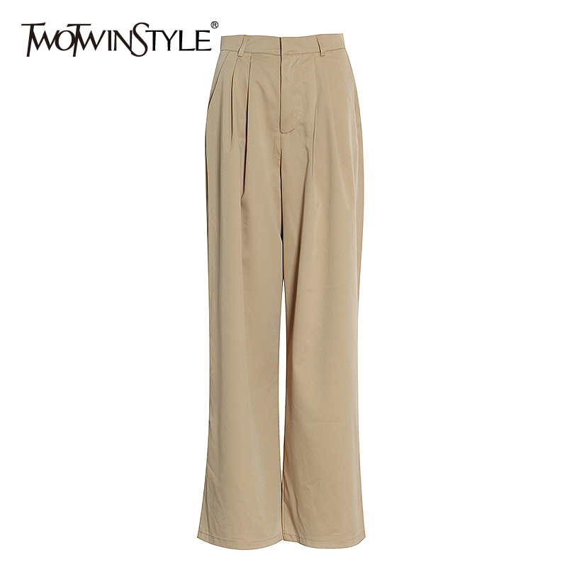 TWOTWINSTYLE Casual Loose Wide Leg Pants Female High Waist Plested Chiffon Full Length Pant With Women Fashion 2020 Spring Tide