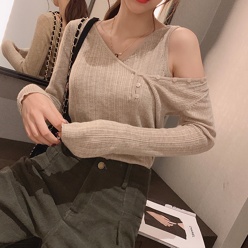 Mishow Autumn Basic Solid Slim Fit Off-the-shoulder Knit Sweater Women VNeck Long Sleeve Pullover Tops MX19D5452