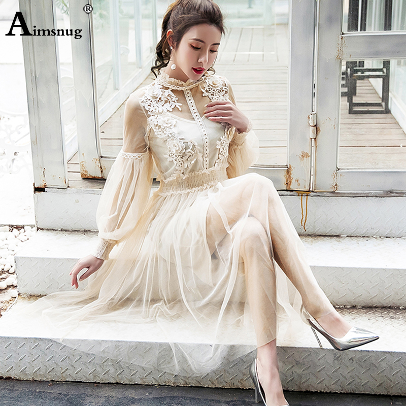 Aimsnug Elegant Dress Women Stand Collar Lantern Sleeve Mesh Dress See through Lace Embroidery Fairy Dress Party Vestidos Robe|Dresses| - AliExpress