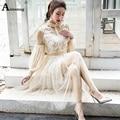Aimsnug Elegante Kleid Frauen Stehen Kragen Laterne Hülse Mesh Kleid Sehen-durch Spitze Stickerei Fee Kleid Partei Vestidos Robe
