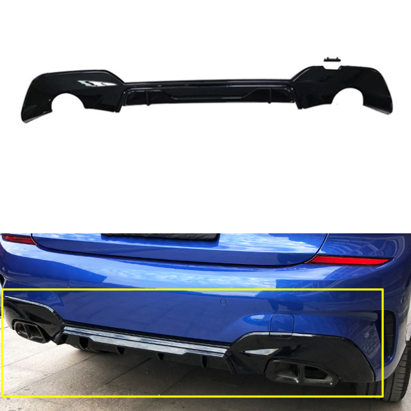 PP Rear Diffuser Bumper Boot Lip Wings For Bmw <font><b>3</b></font> Series G20 G28 M Sport Model 20419 Carbon Look Diffusers Back Bumpers image