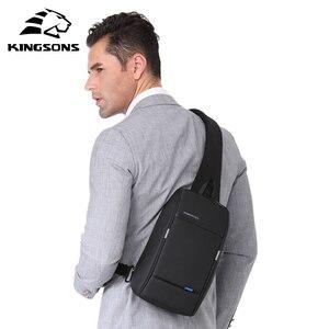 Image 5 - Kingsons Mochila pequeña por encima del hombro para hombre, bolso de pecho con una correa, de viaje, de ocio, cruzado de 10,1 pulgadas, con carga USB