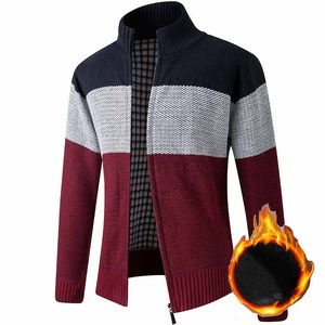 FALIZA Stand Collar Sweater Coat Men's Patchwork Thick Fleece Comfy Wool Cardigan Knitted Jackets Casual Male Knitwear XY109