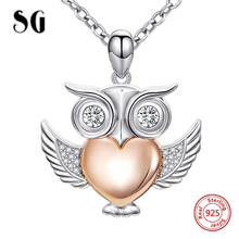 Aliexpress cute animal owl chain pendant&necklace with Cubic Zirconia 925 sterling silver diy fashion jewelry making women gifts