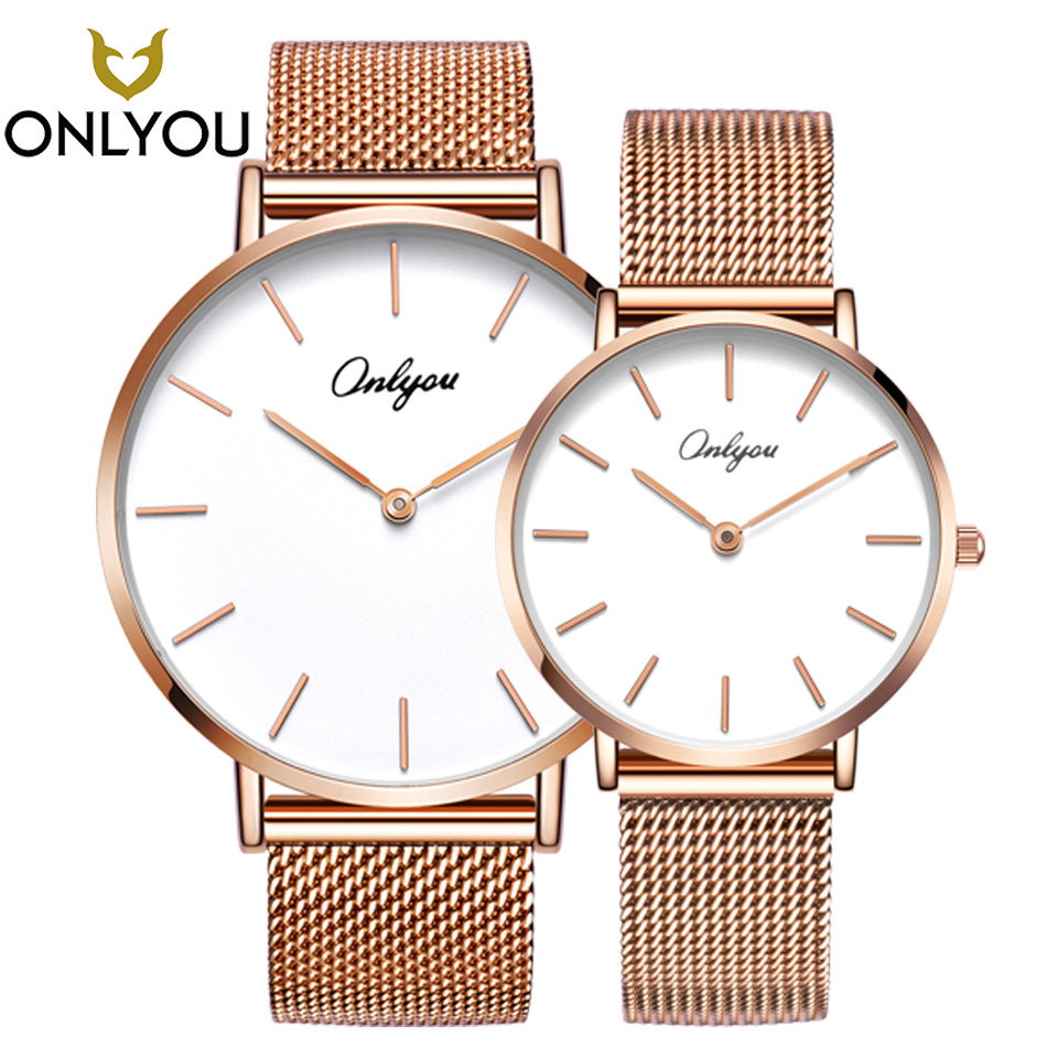 ONLYOU 2PCS Fashion Brand Men Gold Quartz Watch Steel Bracelet Women Wristwatch For Ladies And Boys Montre Femme 81161
