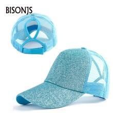 BISONJS 2020 лета женщин мода конский хвост шляпа оптом светлый порошок сетки бейсболка мужчины открытый спорт ВС шляпы Снэпбэк