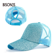 BISONJS 2020 Summer Fashion Women Ponytail Hat Wholesale Bright Powder Mesh Baseball Cap Men Outdoor Sport Sun Hats Snapback