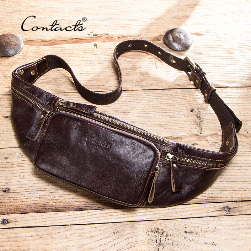 CONTACT'S cow leather men waist bag new casual small fanny pack male waist pack for cell phone and credit cards travel chest bag| | - AliExpress
