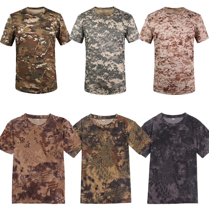 Мужская Летняя Военная форма с круглым вырезом, 3d-принт, сетка питона, сухая тактическая футболка, камуфляж, дышащие, для верховой езды