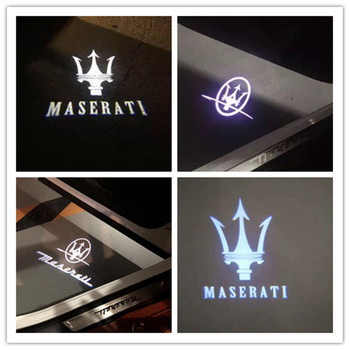 2pcs Logo Projector Light For Maserati Quattroporte Levante Ghibli Maserati Logo Courtesy Light Welcome LED Car Door Lighgt image