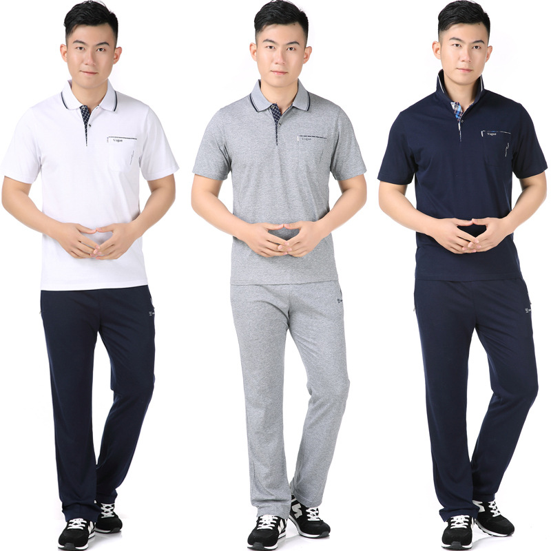 Daddy Clothes Middle-aged Men'S Wear Sports Set Men's Summer Short-sleeved Long Pants Large Size Two-Piece Set