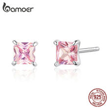 bamoer Pink Princess Cubic Zirconia Stud Earrings for Women Anti-allergy 925 Sterling Silver Wedding Statement Jewelry SCE660(China)