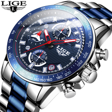 2020 NEW LIGE Men Watches Luxury Brand Quartz Full Steel Sports Watch Blue Wrist Watch Waterproof Male Clock Relogio Masculino new lige watches men luxury brand fashion men s sports quartz watch man waterproof full steel gold wrist watch relogio masculino