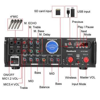 Усилитель мощности SUNBUCK TAV-3313WBT, 2*100 Вт, Bluetooth 2