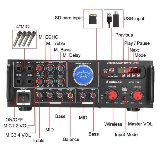Усилитель мощности SUNBUCK TAV-3313WBT, 2*100 Вт, Bluetooth