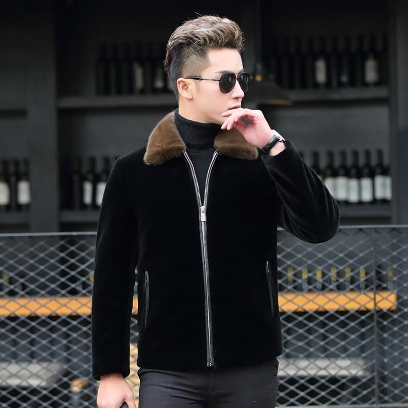 Winter Warm Duck Down Coat 2020 Lamb Fur Jacket Real Fur Coats Natural Mink Collar Jacket Veste Homme 1815 YY325