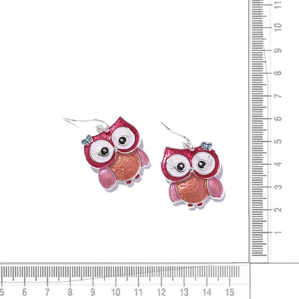 D&Rui Jewelry Cute Enamel Owl Handmade Dangle Earrings for Women Bohemian Animal Statement Drop Earring Jewelry Friends Gifts