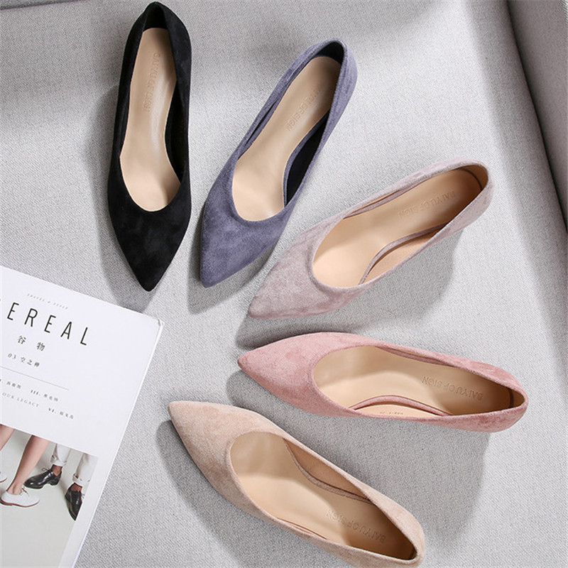Image 2 - Square High Heels Shoes Woman 2020 Summer Flock Faux Suede  Point Toe Black Heels Womens Shoes Office Ladies Female PumpsWomens Pumps   -