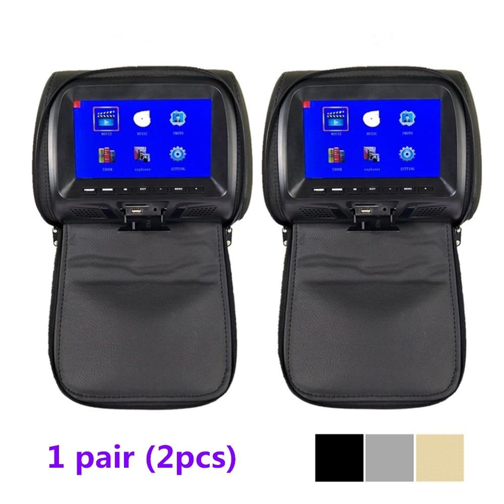 Monitor de encosto de cabeça universal para carro, 2 peças, monitor com tela de 7