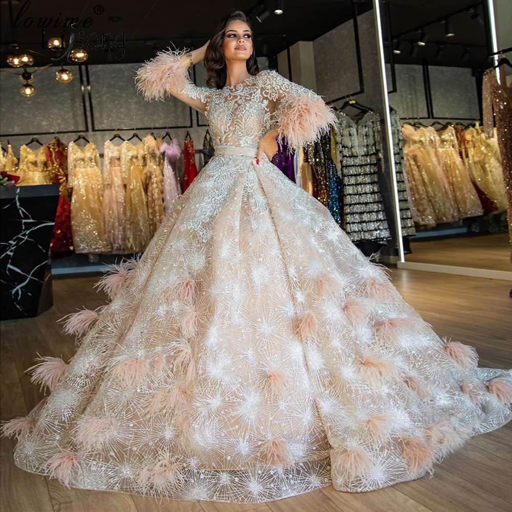 Dubai Gorgeous Sparkle Lace Beaded Wedding Dresses With See Thru Full Sleeves Crystal Feather Puffy Bridal Gowns Ball Gowns