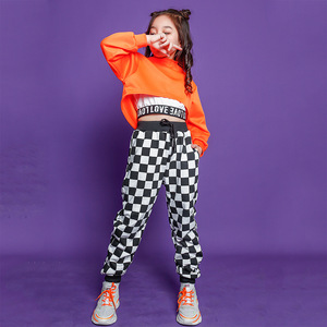 Kids Cool Hip Hop Clothing High Neck Sweatshirt Top Crop Running Casual Pants for Girls Jazz Dance Costume Wear Dancing Clothes