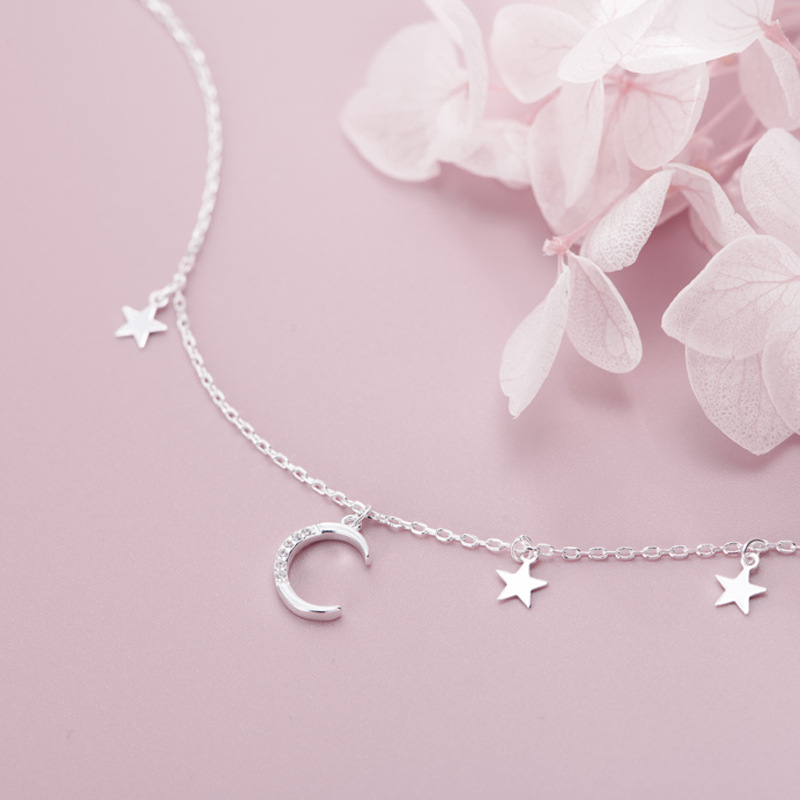 HF JEL Luxurious 925 Sterling Silver Moon Stars Pendant Necklaces for Women Elegant Silver Charm Necklace Choker Fashion Jewelry