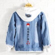 Nowa bluza w stylu Naruto Anime Uchiha Sasuke płaszcz mężczyźni kobiety moda kurtka dżinsowa