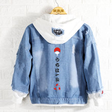 새로운 나루토 까마귀 애니메이션 Uchiha 사스케 코트 남성 여성 패션 데님 자켓