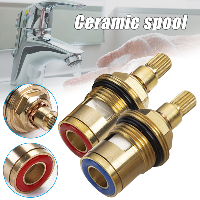 2 Pcs Standard 1/2 Ceramic Faucet Cartridge Water Mixer Tap Inner Faucet Disc Valve Quarter Turn Cartridges Handle Switch Repair