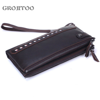 GROJITOO Men's First Layer Cowhide Handbag Double Zipper Leather Long Wallet Soft Business Korean Style Purse - discount item  42% OFF Wallets & Holders