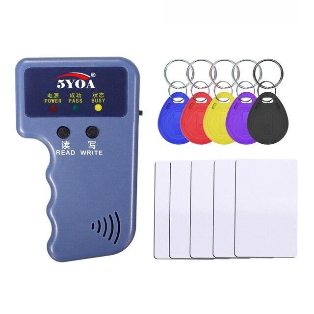 Handheld 125KHz EM4100 TK4100 RFID Copier Writer Duplicator Programmer Reader EM4305 T5577 Rewritable ID Keyfobs Tags