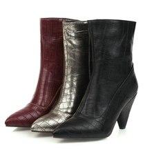 Женские ботинки на шпильке; ботильоны из искусственной кожи на высоком каблуке; женская обувь с острым носком на молнии; сезон осень-зима; цвет черный, красный, золотистый