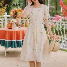 Yitimoky mulher vestido bege bordado floral meados de bezerro algodão roupas verão nova manga curta solto gola quadrada doce sundress